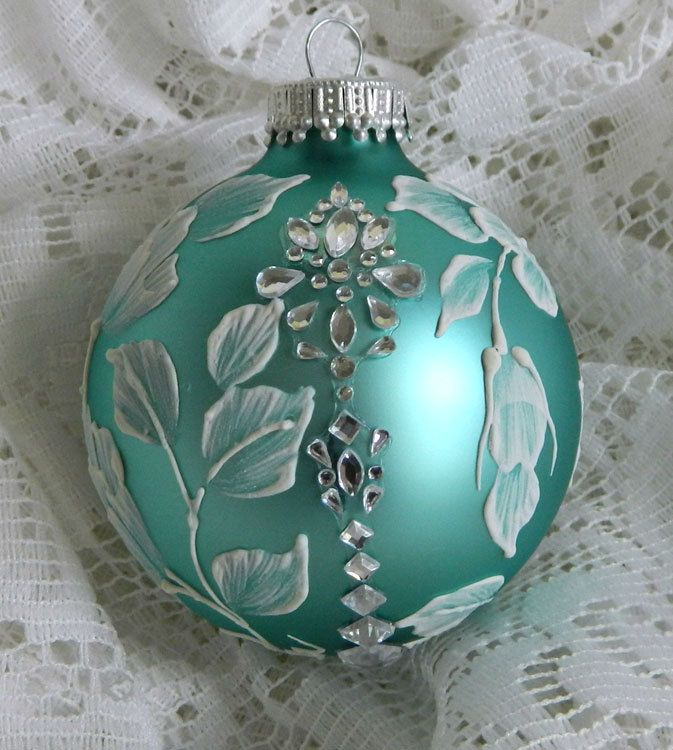 Soft Turquoise MUD Ornament with Flowers and Rhinestone Motif Bling. $20.00, via Etsy.