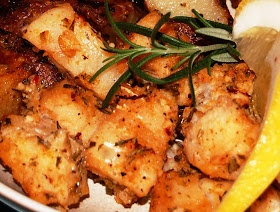 That's What Bob's Cooking: Garlic Roast Cod with Rosemary and Lemon, and Dijon Potatoes, with Whole Wheat Garlic Bread
