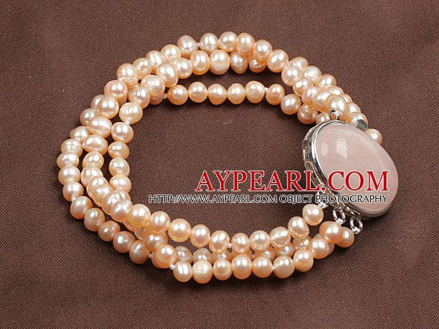 Fashion Three Strand Natural Pink Pearl Bracelet With Rose Quartz Clasp