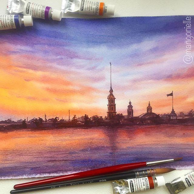 Питер by Mangorielle #piter #sunset #saintpetersburg #nevariver #landscape #watercolor #fortress