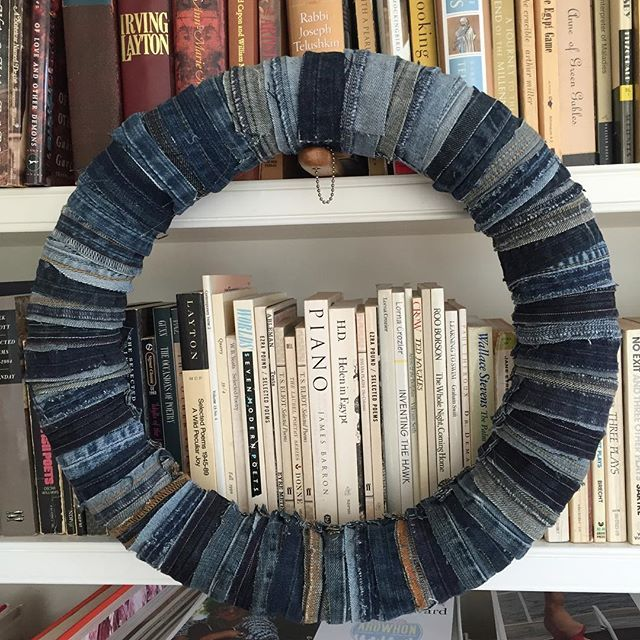 Old books and old jeans. #wreath #denimwreath