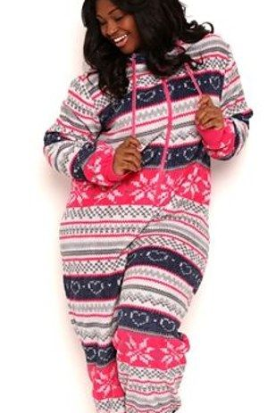 Plus-Size Plush Onesie with Fair Isle Print and Hood | 33 Cozy Onesies That Are Better Than A Winter Boyfriend