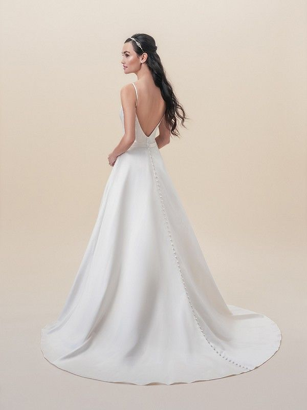 248806585f429 Moonlight Tango T821 simply elegant satin wedding gown with pockets and  classic buttons to end of the train