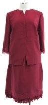 Kay Unger Garnet Red Silk Pencil Skirt & 3/4 Sleeve Jacket Suit
