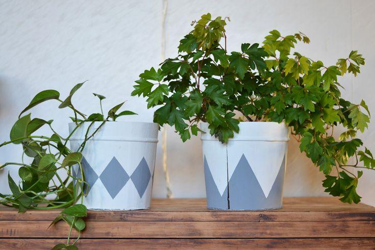 Förvandla träkrukor med lite färg. ~ Diagnos:Kreativ  #återbruk #krukväxter #DIY