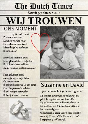Trouwkaart Krant Eigen Foto Cartita - Trouwkaarten - Kaartje2go