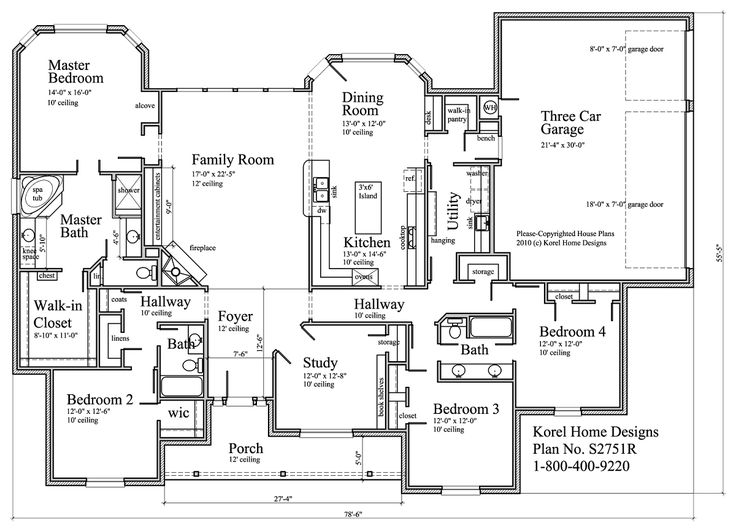 Korel home designs plan s2751r 2 751 sq ft 1 story for House plans by korel home designs
