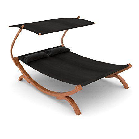 Vintage Ampel Bain de soleil chaise longue double PANAMA noire avec marquise r glable SonnendachSchwarzLuxusPanamaGarten