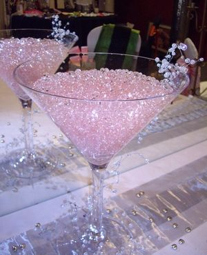 giant martini glass with pink crystals. I can put my makeup brushes in it <3