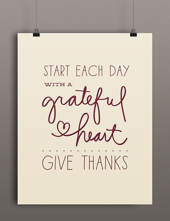 Thanskgiving Printable Art | Start Each Day With a Grateful Heart