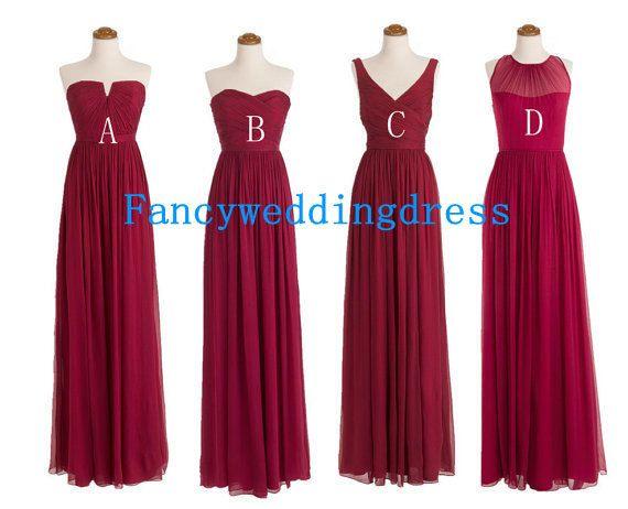 Burgundy Bridesmaid Dress Wine Red Long by Fancyweddingdresses, $84.99