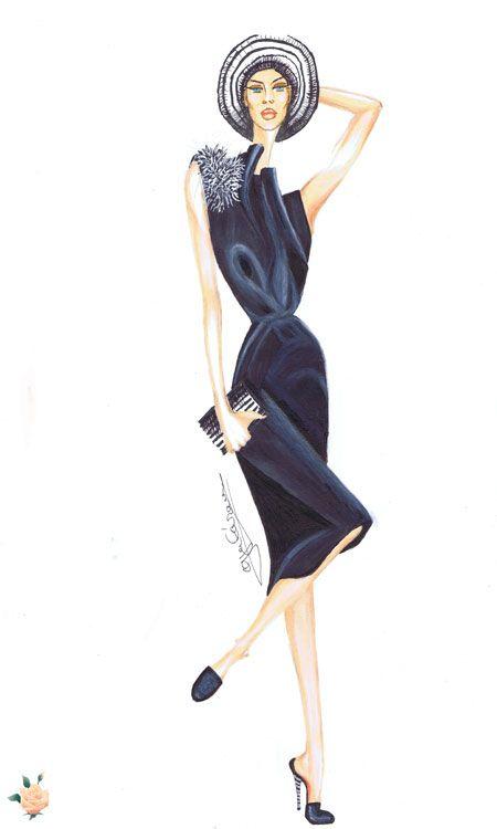 Vestido en crepsatén adornado con plumas
