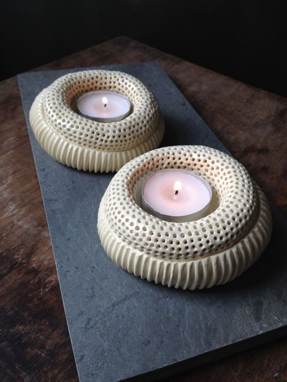 Set of 2 handmade offwhite ceramic tea light by StroudwaterStudio, $30.00