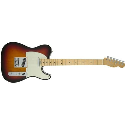 Fender American Elite Telecaster 3-Color Burst. Hum-Free classic Tele tones provided by the all-new fourth-generation Noiseless single-coil Telecaster pickups. Achieve a wide range of tonal versatility that add a warm thick girth or the expected single coil shimmer from the S-1 switch located on the volume control. Play in comfort anywhere on the neck via the compound profile neck; redesigned contoured neck heel. Enjoy increased tuning stability and proper string angle via the locking...