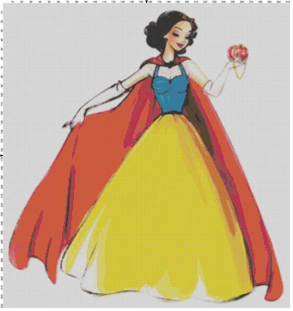 Large Size Disney Designer Princess Doll Snow White Cross Stitch Pattern PDF (Pattern Only) on Etsy, $5.00
