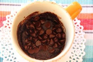 Brownie in a Cup  2 tbsp. oil 2 tbsp. water 1/4 tsp. vanilla dash of salt 2 tbsp. cocoa 4 tbsp. sugar 4 tbsp. flour  In a 12 oz. mug, add water, oil, and vanilla. Whisk well.  Add cocoa, sugar, and flour… And mix it all up!  Microwave for 60-90 seconds. Center should be slightly molten. {YUMMMM!}