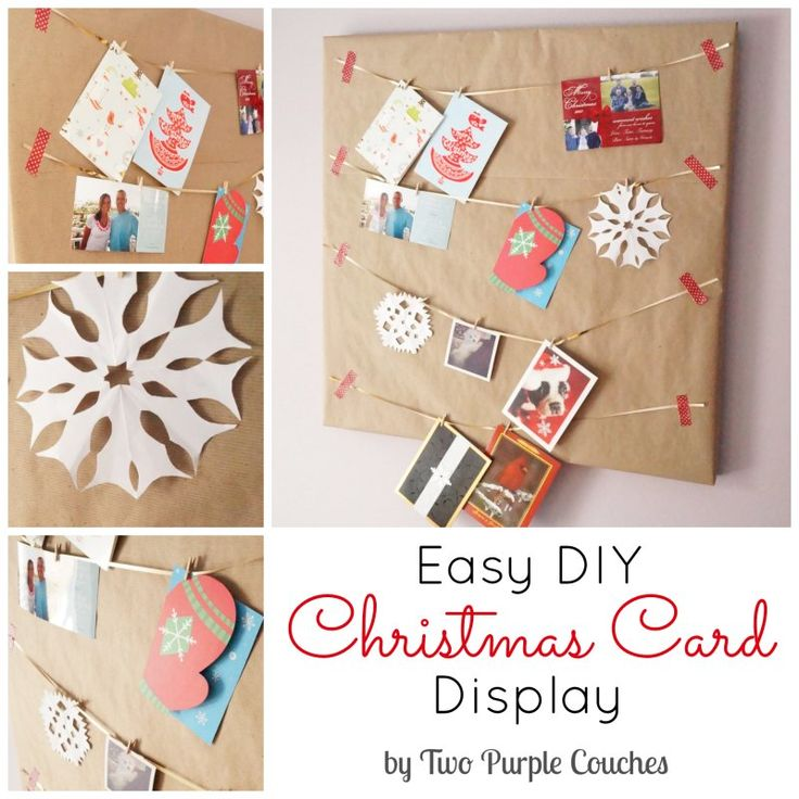 Easy Christmas Card Display (quickie: paper over photo board, hang, thumb tack cards in)