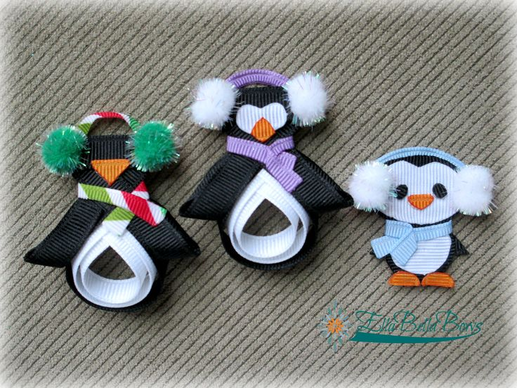 #Penguin #HairClip by #EllaBellaBows.  Find me on Facebook and Etsy.  $7.00 each