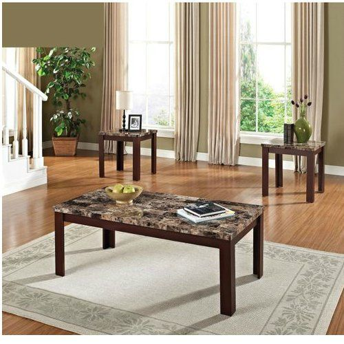 FAUX MARBLE 3 PIECE COFFEE AND END TABLE SET   BROWN AND CHERRY  Click Image