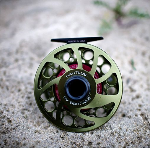 The awesome Nautilus NV saltwater fly reel. Super smooth line control and a drag system that can stop a freight train.