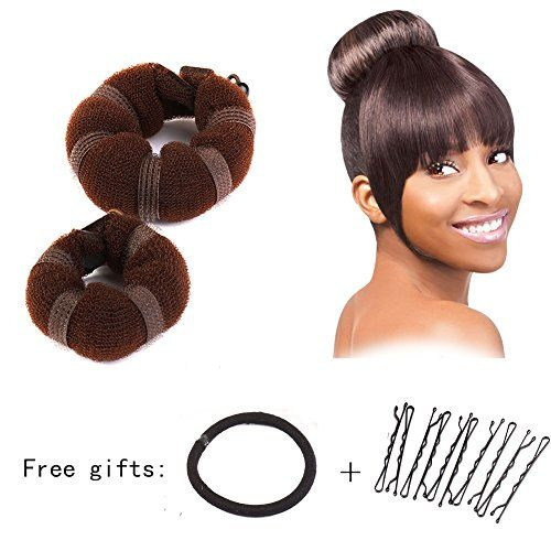 Sent Hair 2 Pieces Donut Hair Bun Maker Brown Magic Easy Using Hairdisk Former Ring Hair Buns for Kids and Adults SmallLarge ** Click image to review more details. (This is an affiliate link) #BunandCrownShapers