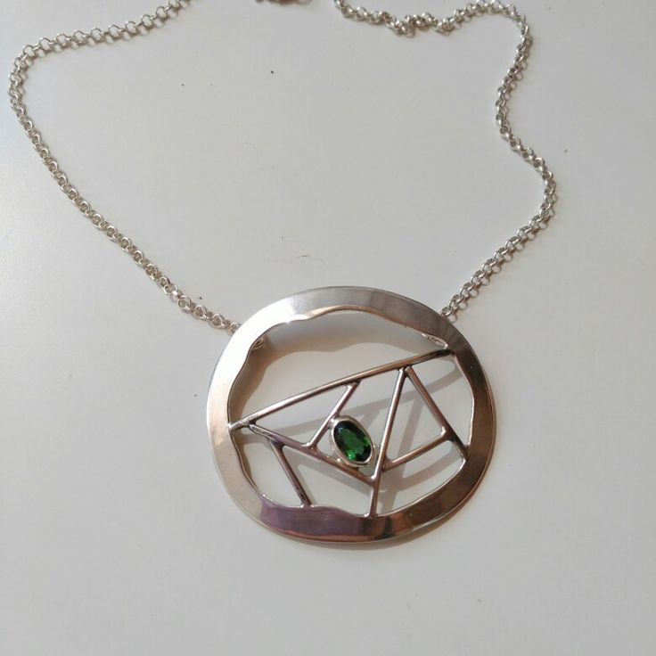 Silver necklace with turmaline
