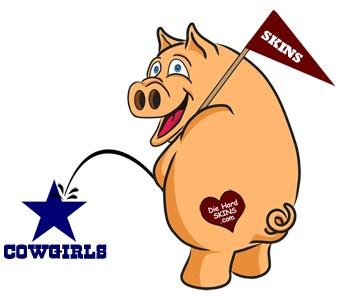 Redskins Hog Peeing on Dallas Cowboys logo