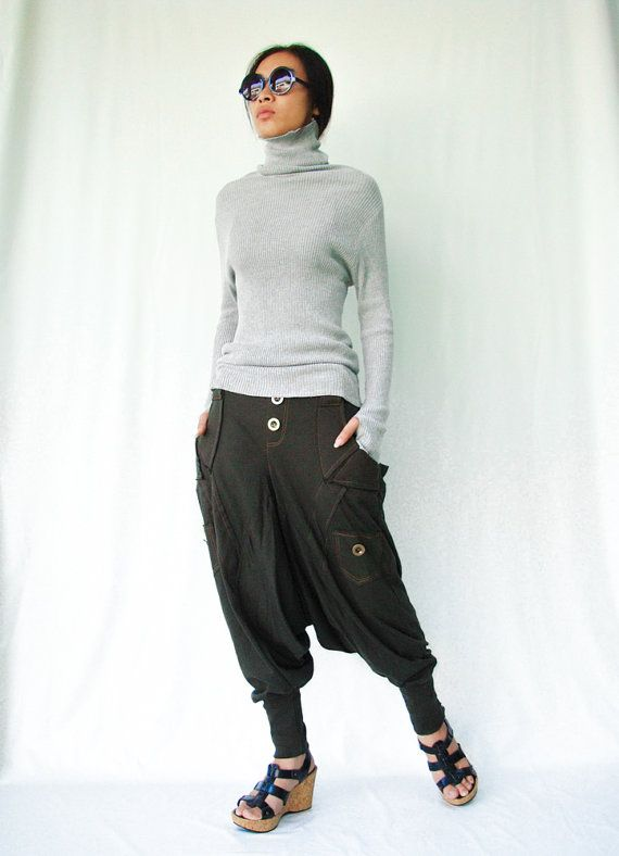 NO.95    Olive Green Cotton Jersey Casual Harem by JoozieCotton, $45.00