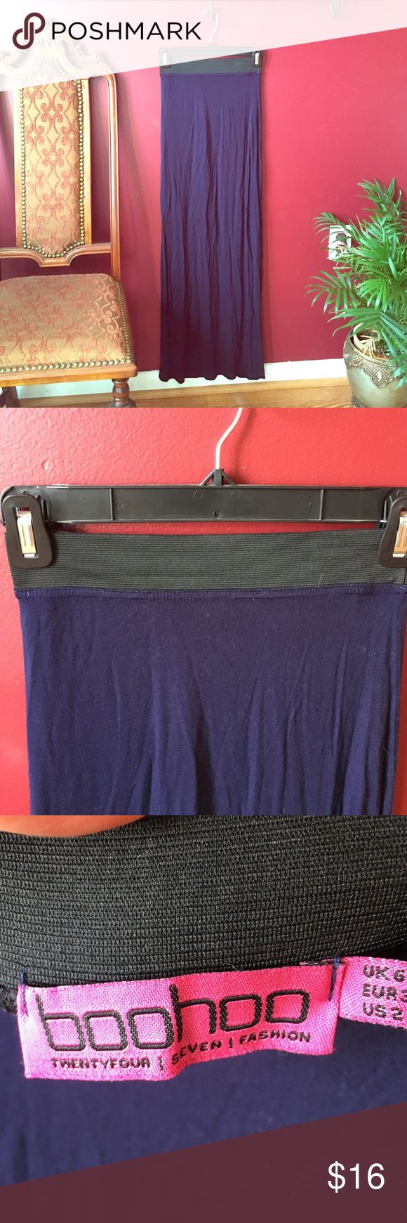 Size 2 Navy Blue Maxi Skirt Size 2- Long Maxi Skirt. Navy blue with black elastic waistband Boohoo Skirts Maxi