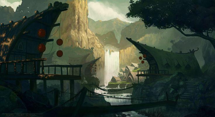 WaterFall Village by KlausPillon.deviantart.com on @deviantART