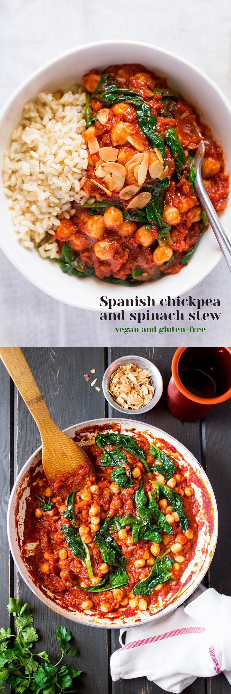 Spanish chickpea and spinach stew is a delicious, filling, vegan and gluten-free main meal that is easy and quick to make.