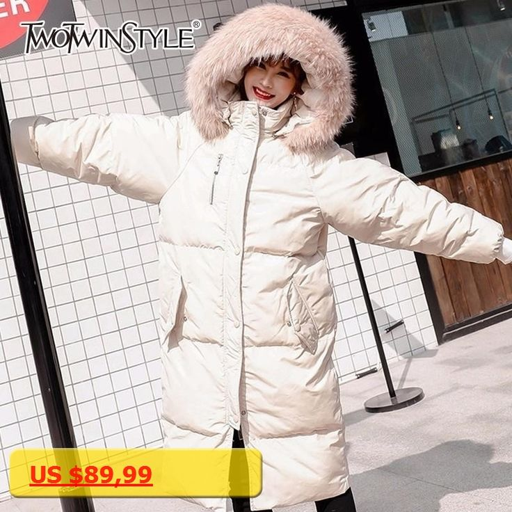 TWOTWINSTYLE Long Cotton Coats Women Winter Hoodies With Fur Tops Thick Warm Big Size Womens Windbreaker White Casual Clothes