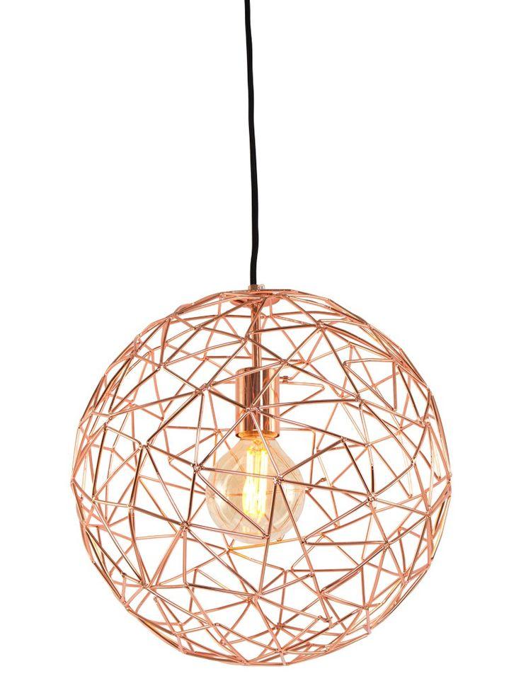 Moderne koperen hanglamp draadbol