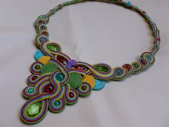 Rainbow  soutache necklace by JoannaArt77 on Etsy, $129.00