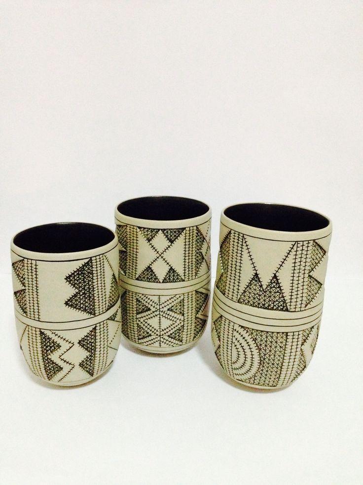 Handbuilt, stoneware, black inlay