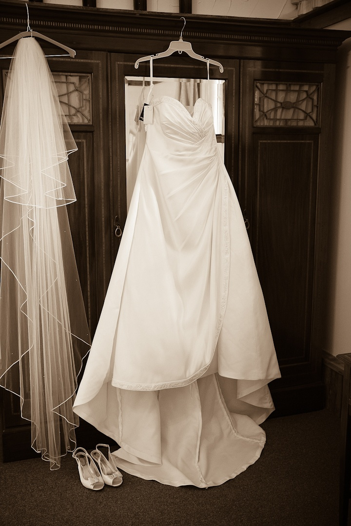 Wedding dress with a sepia toning effect by Kent Photographer www.davidblackshaw.com