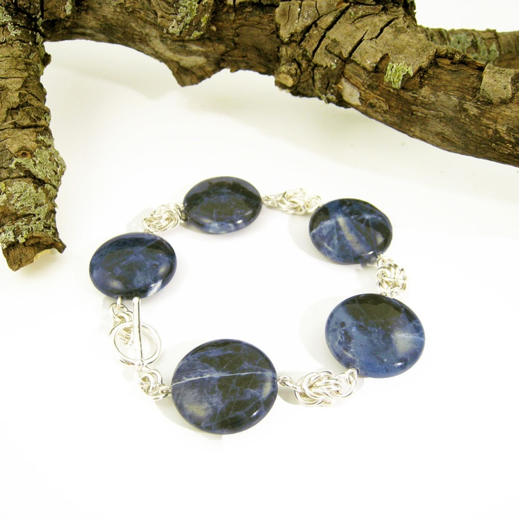 Sodalite (Australia) and sterling silver chain maille bracelet by Gemtation Jewellery
