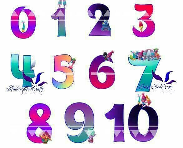 Trolls Ombre Numbers Png Electronic Cutting Files By