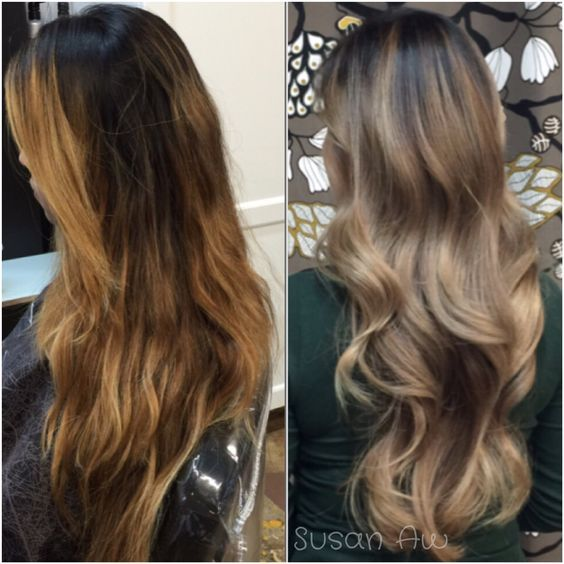 Susan Aw (@susan.aw), one of our favorite colorists based at Embellish Salon, Arcadia, California, has done it again. Here she offers the details for this tasteful transformation. Step 1. Apply to root area Kenra 6AA+ Blue booster blended with 20 volume developer. Step 2. Balayge low-lights using Kenra Demi - 7A+6N Step 3. Balayage Highlights using Paul Mitchell DPL + Olaplex Step 4: Process for about 20 mins, lifting to level 8/9.