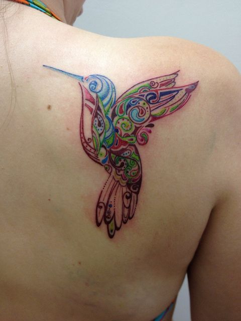 Hummingbird Tattoo, love the detail and color