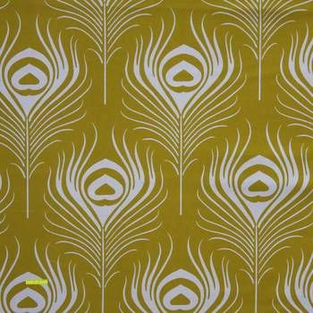 Latest Designer Fabric 'Peacock Plume in ochre' by Other Designer. Buy online or visti our fabric retail store in Christchurch.
