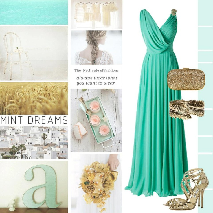 mint bridesmaids pronovias dress <3 with gold and rose gold accents