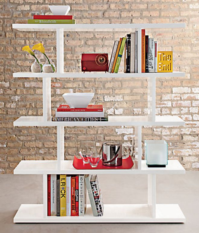 This White Hi Gloss Lacquered Scoreboard Bookcase Is Composed Of Five  Staggering Shelves, Which