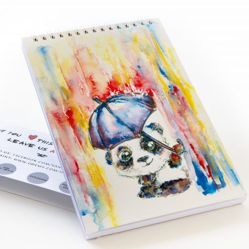 I painted a cover of this sketch pad in watercolor. High quality paper, great for dry media: pens, pencils, markers. Your kids will love this cute baby panda! *art notebook ideas, DIY, creative cover, inspiration, doodles, interactive planners, scrapbook for writers, cute spiral sketch pad for notes, personalized and customized for journaling and writing, fashion layout, kids love it*