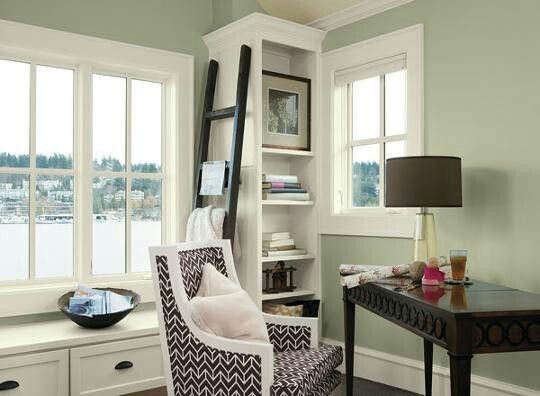 Soothing Home Office E Tree Moss 508 Walls Mountain Peak White Trim Branchport Brown Accent Love The