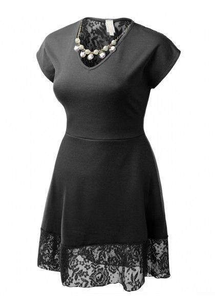 Short Sleeve V-Neck Dress with Lace Trim Bottom and Back and Removable Necklace #jtomsonplussize
