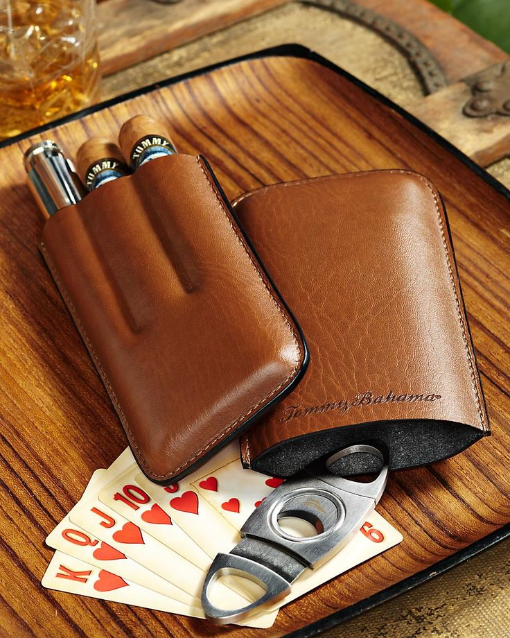 ♂ Masculine & elegance brown Leather Cigar Tube, Flask and Cigar Cutter