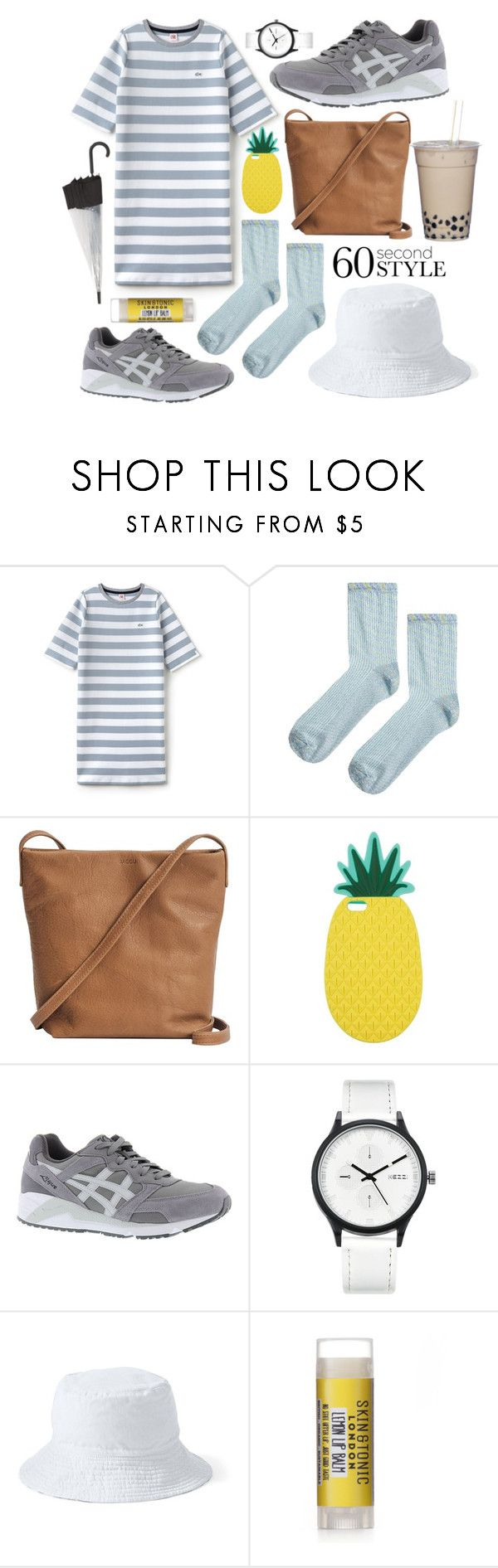 """60 seconds style"" by shiuan-tzylu ❤ liked on Polyvore featuring Lacoste L!VE, Topshop, BAGGU, Miss Selfridge, Asics, Lands' End, Hunter, tshirtdresses and 60secondstyle"