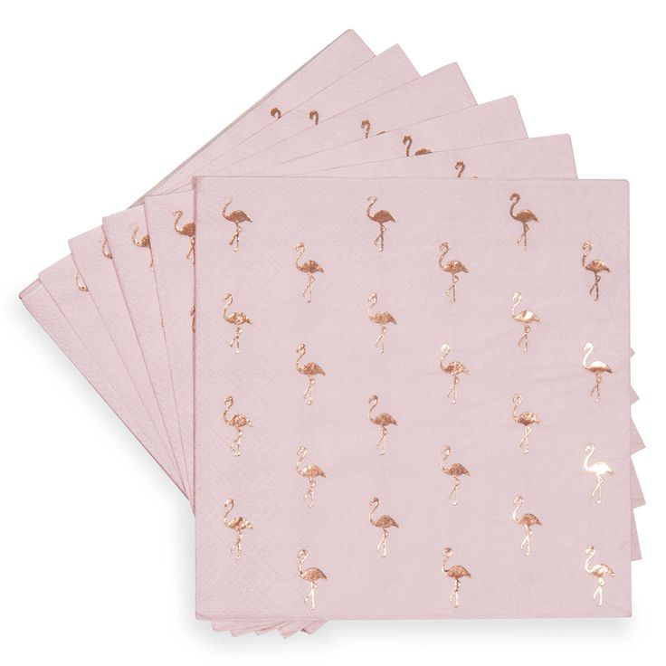 Paquet de 20 serviettes motif flamant rose en papier 25 x 25 cm COCKTAIL MAISONS DU MONDE