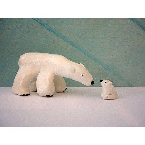 Polar Bear and her Cub CLAY sculpture by creativethursday on Etsy